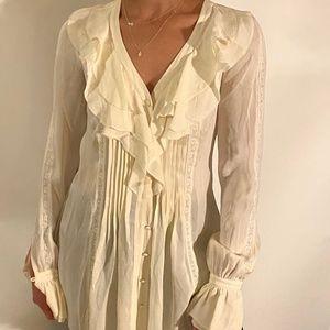 Beautiful 100% silk, pearl white Rachel Zoe blouse